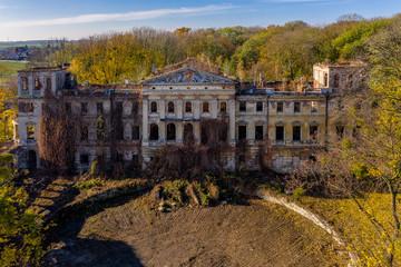 Castle ruin in Slawikau, Poland. Drone photography.