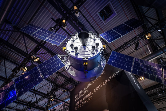 BERLIN - APRIL 26, 2018: Space Pavilion. Mockup of the European Service Module (ESM), one of the component of the Orion spacecraft.