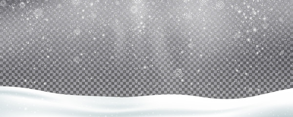 Photo sur Toile Taupe Snow background overlay. Realistic snow. Winter Christmas and New Year snow decoration
