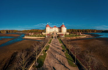 Panoramic view on Schloss Moritzburg, Germany. Drone photography.