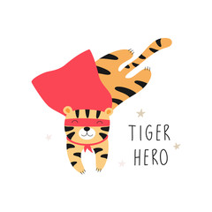 Сute tiger in a superhero costume. Children vector illustration for print on a t-shirt, poster, postcard.