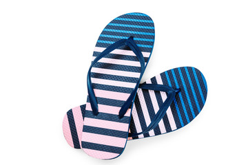 Summer colorful striped print flip flops isolated on white background. Top view