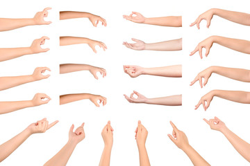 Set of Young woman hands isolated on white background. Wall mural