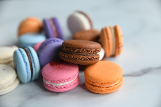 colorful french macaron cookies