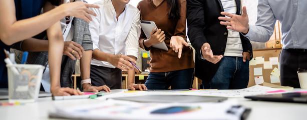 business people team meeting in modern office design planning ideas concept Fotobehang