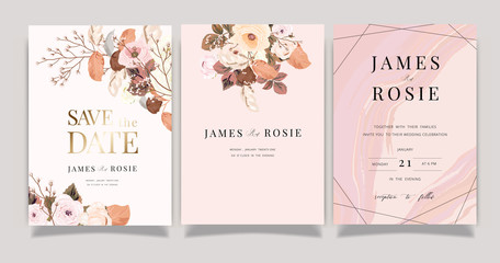 Fototapeta Autumn and winter Flower Wedding Invitation set, floral invite thank you, rsvp modern card Design in pink brown  floral with leaf greenery  branches decorative Vector elegant rustic template obraz