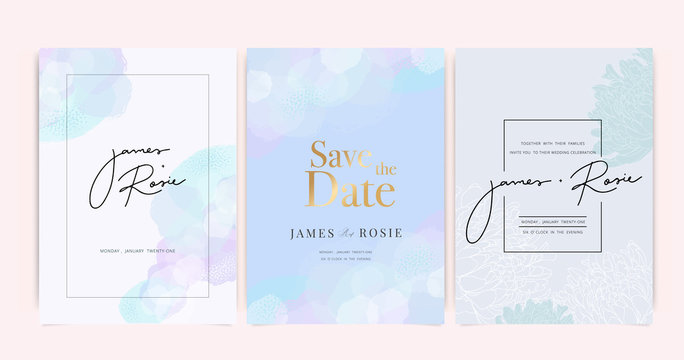 Luxury Wedding Invitation set,  invite thank you, rsvp modern card Design in Golden and pastel decorative Vector elegant rustic template