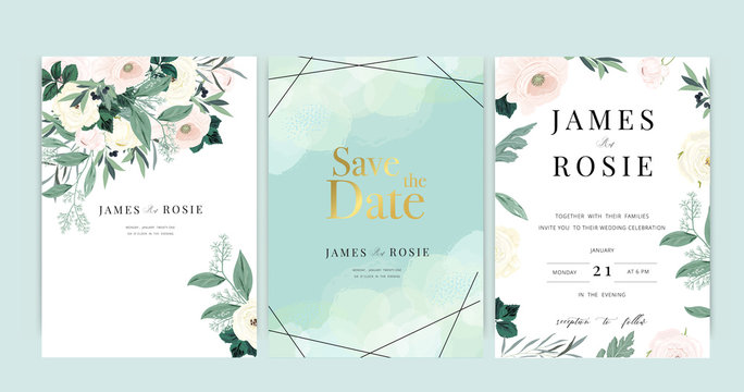 Luxury Wedding Invitation set,  invite thank you, rsvp modern card Design in Golden and white flower with leaf greenery branches  decorative Vector elegant rustic template