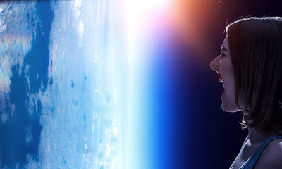 Girl screaming at Earth planet