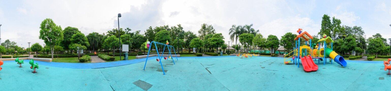360 panorama of playground in the park