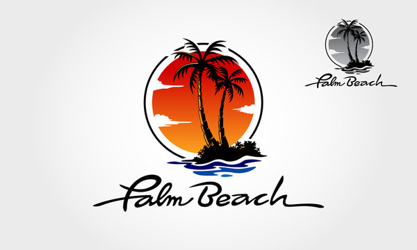 Palm Beach Logo Template, Water ocean waves with sun, palm tree and beach, for restaurant and hoteling. Palm Beach logo is fully customizable; it can be easily edit to fit your needs.