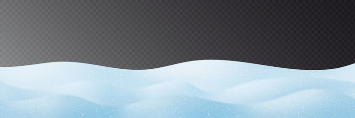 Snowdrifts on transparent background, panoramic image, vector illustration, EPS10