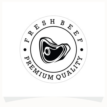 Butchery Shop Logo Design Template. Cow and meat cleaver knife vector design.