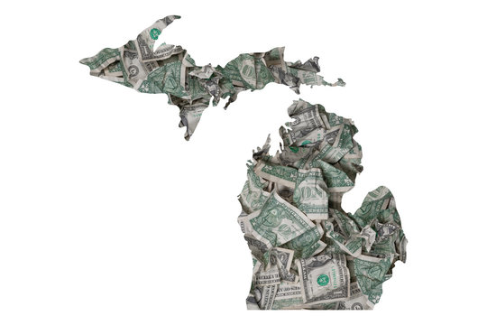 Michigan State Map, Crumpled Dollars, Waste of Money Concept
