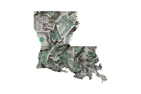 Louisiana State Map Outline with Crumpled Dollars, Government Waste of Money Concept