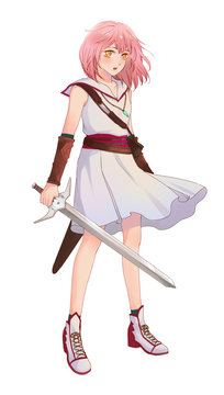 Cute original character design of fantasy female girl warrior or swordswoman magic fencer knight in Japanese manga illustration style with isolated transparent background
