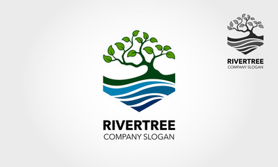 River Tree logo template. An excellent logo template suitable for any business related to eco, green, nature, consulting, socail etc.This logo features with oak tree and a river.