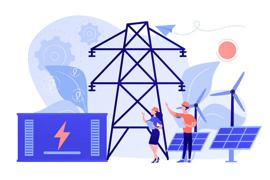 Battery energy storage from renewable solar and wind power station. Energy storage, energy collection methods, electrical power grid concept. Pinkish coral bluevector isolated illustration