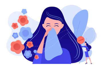 Obraz Female allergic to spring flowers sneezing and taking medicine. Seasonal allergy, seasonal allergy diagnosis, pollen allergy immunotherapy concept. Pinkish coral bluevector vector isolated - fototapety do salonu