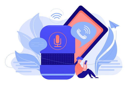 User making hands-free phone calls with smart speaker. Smart home assistant, IoT technology and voice controlled digital devices concept. Vector isolated illustration.