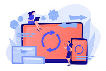 Wall Mural - User with laptop and smartphone synchronizing. Cross-device syncing, cross-device synchronization and operation concept on white background. Pinkish coral bluevector isolated illustration