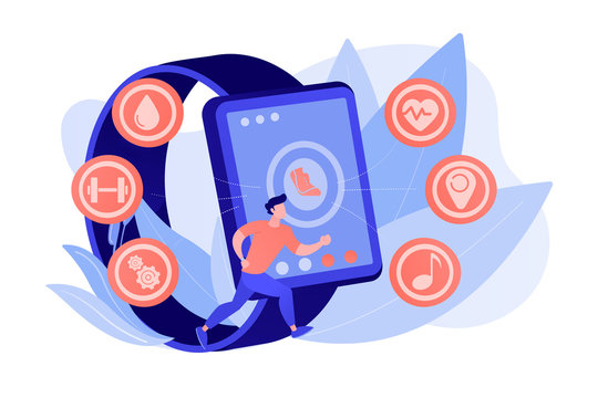 Runner uses smartwatch sport and health apps. Fitness tracker, activity band, health monitor and wrist-worn device concept on white background. Pinkish coral bluevector isolated illustration