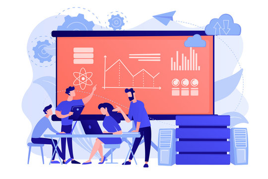 Software Engineer, Statistician, Visualizer and Analyst working on a project. Big data conference, big data presentation, data science concept. Pinkish coral bluevector isolated illustration