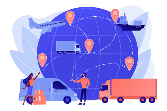 Internet store goods international shipment. Global transportation system, worldwide logistics and distribution, worldwide delivery service concept. Pinkish coral bluevector isolated illustration