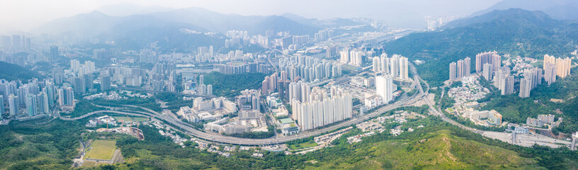Fototapete - Panorama of Shatin area, new territories of North Hong Kong