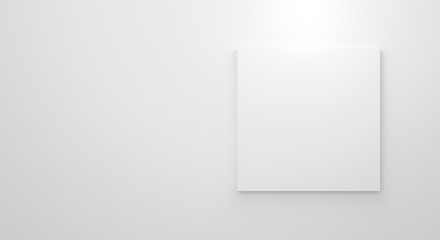 Blank white paper frame template on concrete wall texture in gallery. 3d render illustration. Empty clean picture on grey background for mockup poster and place image. Modern interior design concept.