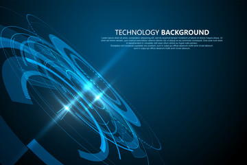 Three-dimensional interface technology, Technology sense vector background.