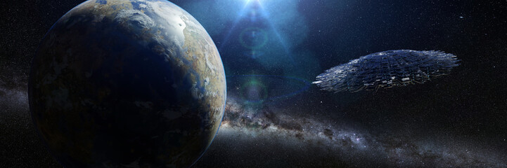 UFO, alien spaceship in outer space, flying saucer in exotic star system