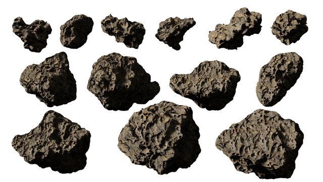asteroids isolated on white background