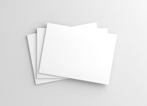 US Letter Landscape Horizontal Magazine White Blank Mockup