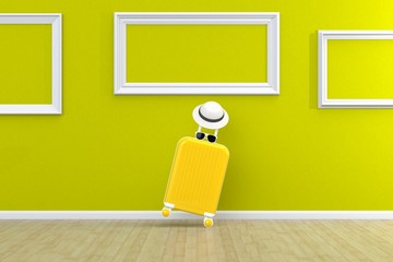 Modern yellow suitcases bag with sun glasses, hat and picture frame on green background. Travel concept. Vacation trip. Copy space. Minimal style. 3D rendering illustration