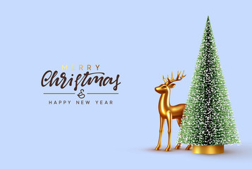 Fotomurales - Christmas lush tree with realistic metallic gold-colored deer. Holiday Xmas background. Festive with decorative objects, pine and spruce tree, gold glass reindeer. vector illustration