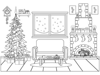 Coloring book for kids and adults in the form of a vector room prepared for the celebration of the new year and Christmas.