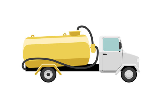 Septic truck vector illustration. Vacuum truck for sewage sludge transportation