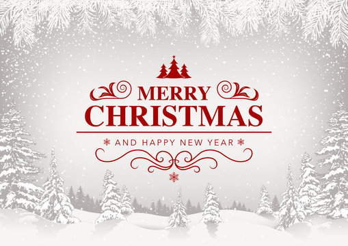 Merry Christmas Greeting Card with White Snowing Landscape and Red Lettering - Festive Illustration with Snowfall, Vector