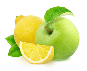 Composition with sweet and sour fruits - apple and lemon isolated on a white background in full depth of field with clipping path.