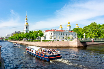 View over Kryukov canal and St. Nicholas Naval Cathedral (Nikolsky Sobor), St. Petersburg, Russia