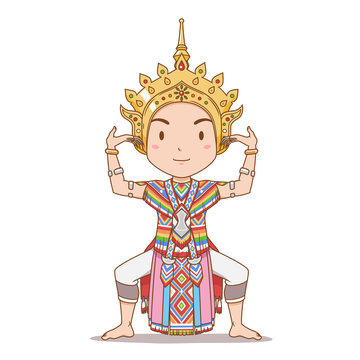 Cartoon character of traditional Thai dancer in Southern Thailand. Manorah dance.