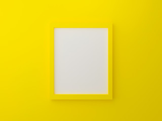 Yellow blank photo frame template on wall texture in gallery. 3d render illustration. Empty clean picture on yellow background for mockup poster and place image. Modern interior design concept.