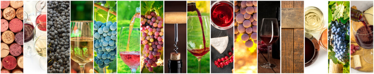 Wine Collage. A panorama of many photos of wine glasses, pouring wine, grapes at vineyards, corks, tastings, barrels, a design for a banner or flyer