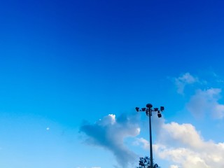 The picture of the blue sky and clouds from a different time