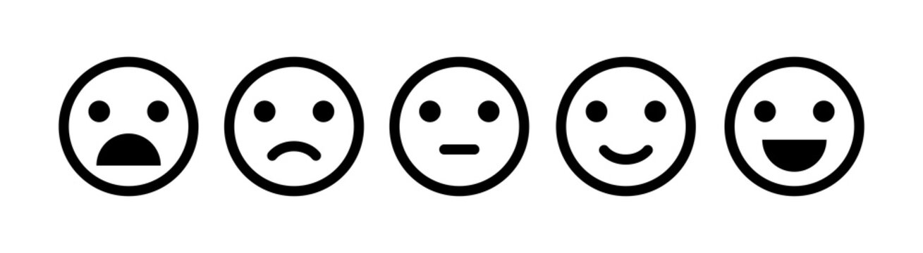 Emoji icon set of satisfaction level in flat style