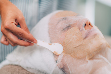 Face Hydrating Mask, Vegetable Based Facial Treatment in Beauty Salon.