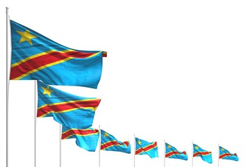 pretty any feast flag 3d illustration. - many Democratic Republic of Congo flags placed diagonal isolated on white with space for your text