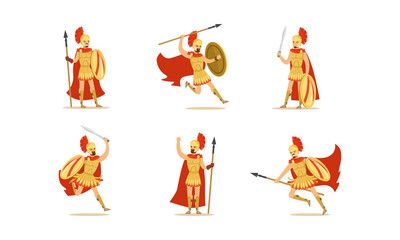 Gladiators Holding Swords Vector Set. Fighting Characters in Action Poses