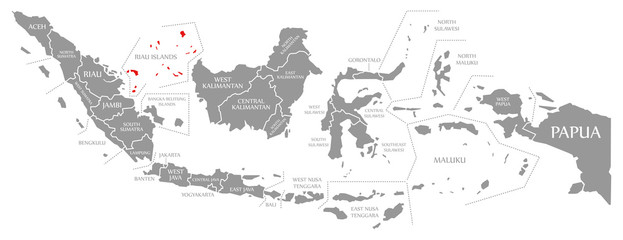 Riau Islands red highlighted in map of Indonesia